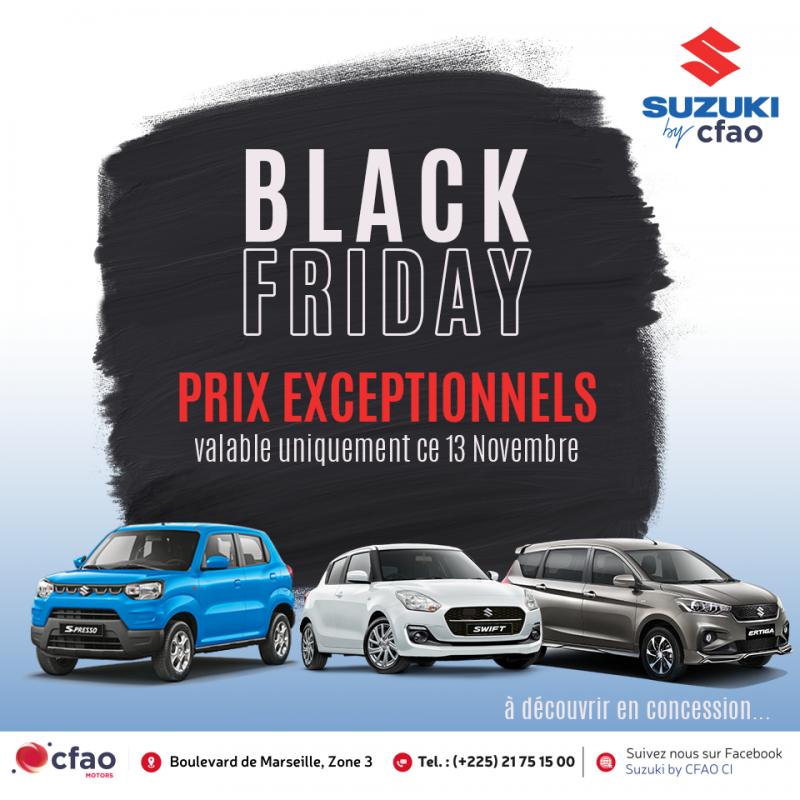 Black friday Suzuki By CFAO : Profitez des prix exceptionnels sur nos véhicules