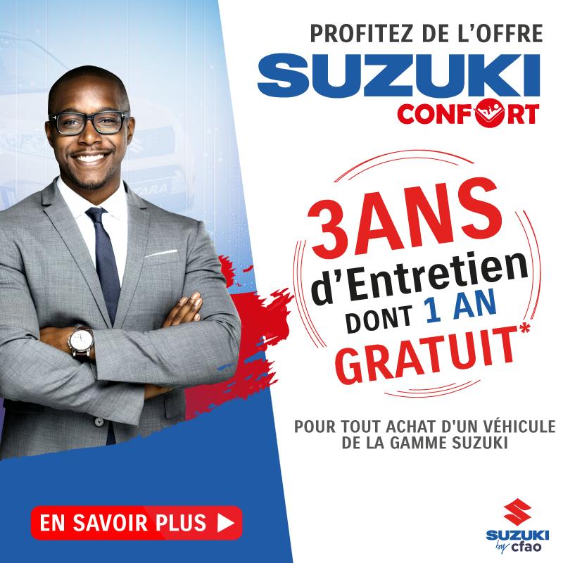 Souscrivez à l'offre SUZUKI CONFORT et bénéficiez de 3 ans d'entretien dont 1 an gratuit