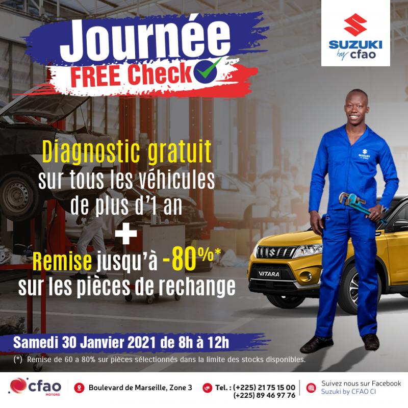 Suzuki Free Ckeck : Diagnostic gratuit + Jusqu'à 80% de réductions sur les pièces de rechange