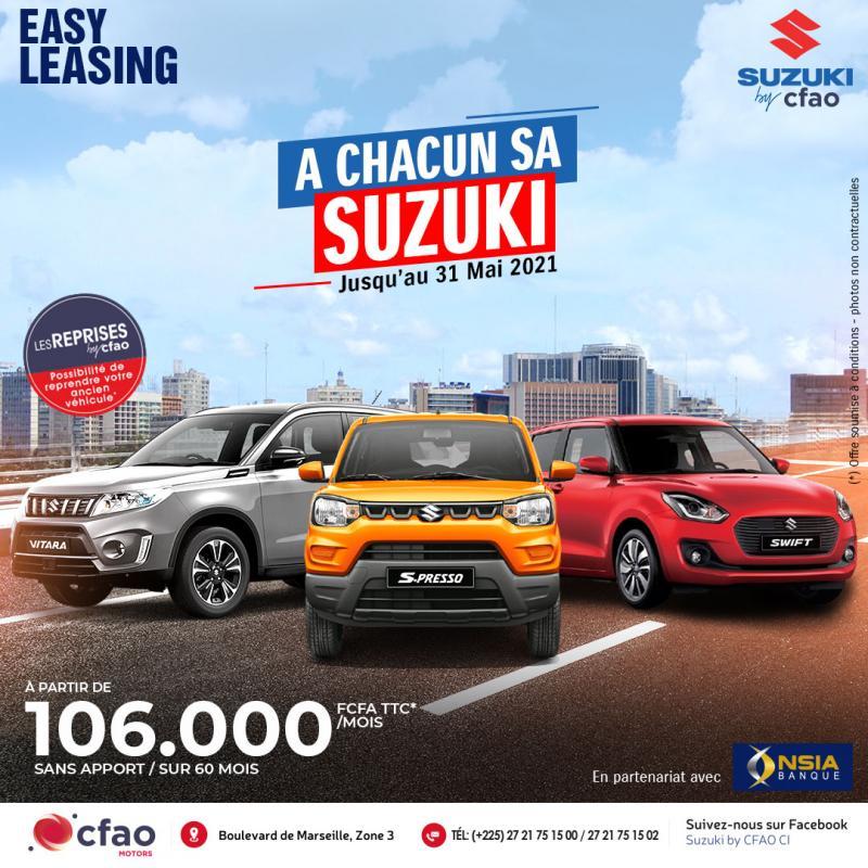 Ta Suzuki by CFAO à partir de 106.000 FCFA TTC par mois